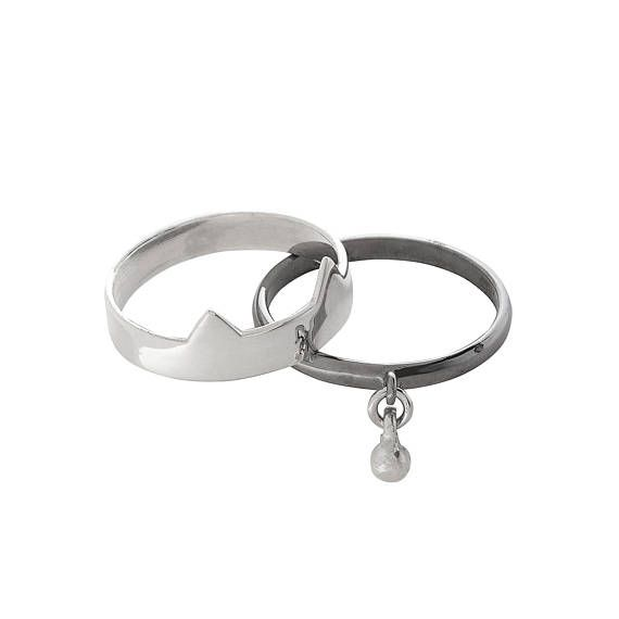 Silver Double Kitty Ring With Bell - White/Black.