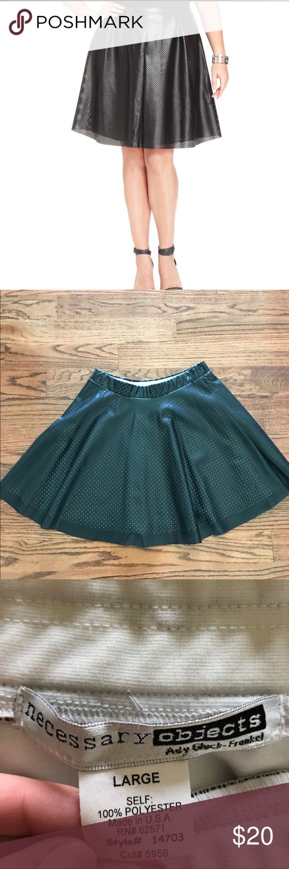 """Black Perforated """"Leather"""" Skater Skirt Sz Large For Sale: Like New (only worn once) black perforated leather like skirt. Brand is Necessary Objects, size is (large) fits like an 8-10. The skirt is NOT LEATHER, but polyester. Made in the USA. Really cute and flirty! First photo is off of google. ASOS Skirts Midi"""