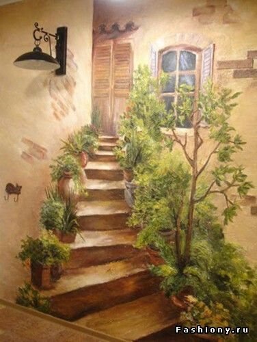 Роспись стен It would be aneatmural idea with 3D elements  (the steps, some plants) in a corner