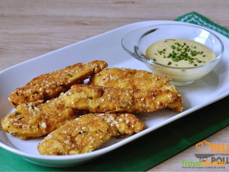 Bastoncini di pollo croccanti con salsa alla senape  #ricette #food #recipes