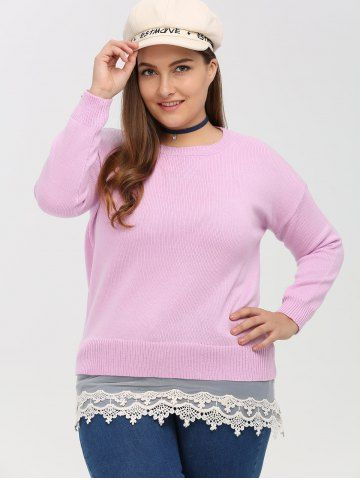 GET $50 NOW   Join RoseGal: Get YOUR $50 NOW!http://www.rosegal.com/plus-size-sweaters-cardigans/crew-neck-lace-spliced-plus-861673.html?seid=2275071rg861673