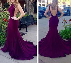Purple long prom dress,sexy mermaid prom gowns,2016 evening dress
