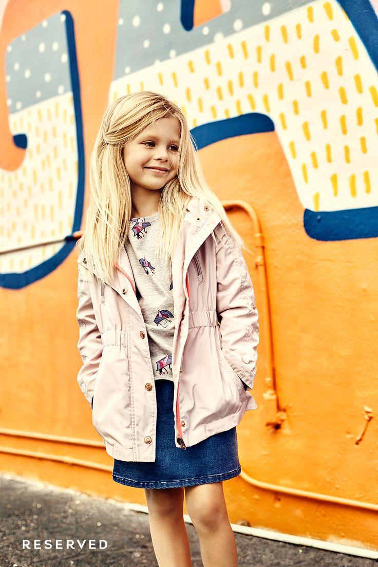 Reserved Kids SS16 #colors#pink#parka#denim#skirt#