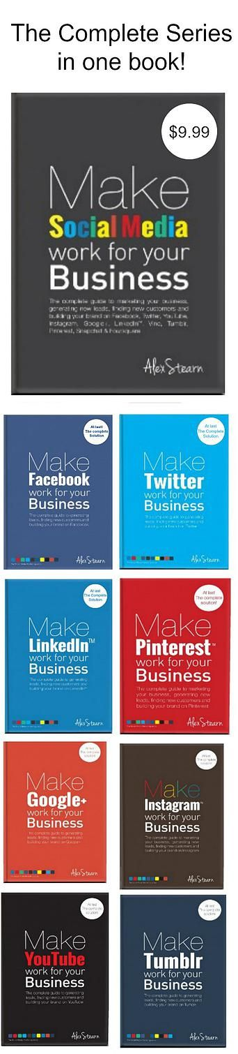 The Complete guide to marketing your business, generating leads, finding customers and building your brand on Facebook, Twitter, LinkedIn, Instagram, Pinterest, Google+, Tumblr, YouTube, Foursquare, Vine and Snapchat.