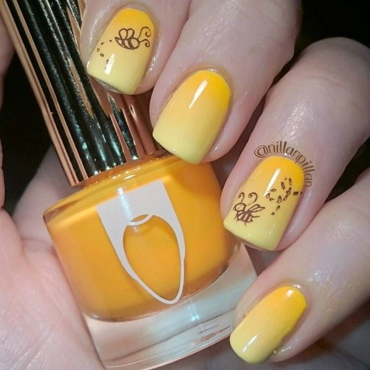 """Flying for #clairestelle8mar  For this prompt I've done a bright happy yellow-orange gradient with :s  Deets: Limecrime """"Crema de Limon"""" China Glaze """"Metro-pollen tin"""" and Floss Gloss """"Neon Nacho"""". Stamping done with Moyou London Doodles 02 and MdU """"Chocolate"""". Hope you'll like my -mani  #notd #nailsoftheday #nailartchallenge #nailart #nailartoohlala #nailpolishaddicted #nailpolish #nagellack #vernis #smalto ###nailpolishmakesmehappy #lacquerlover  #instanails #ignails #nailswag…"""