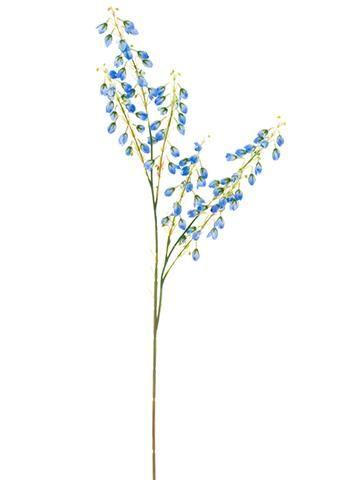 "Blue Spring Blossom Artificial Flower Spray - 27"" Tall"