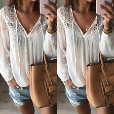 Модные летние белые кружевные топы с длинным рукавом женская блуза свободная футболка