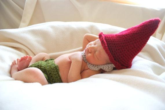 PDF Crochet Pattern for Garden Gnome Newborn Photo by jkwdesigns