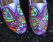 Custom painted Chevron Toms by Chelmarca on Etsy