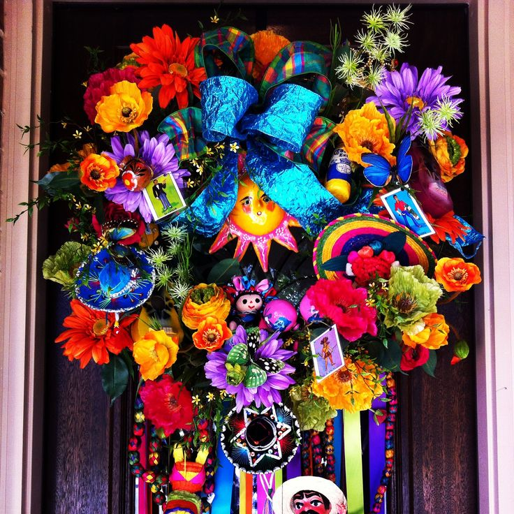 fiesta wreath halloween wreathsholiday wreathsmesh wreathsholiday decorquince decorationsmexican