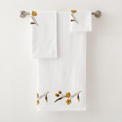 Wild Flowers Buttercup Bath Towel Set - floral style flower flowers stylish diy personalize