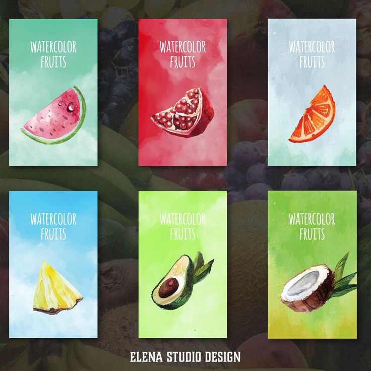 6 Watercolor Fruits Cards