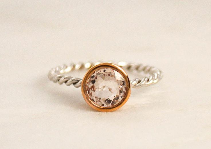 Peachy Pink Cor-de-Rosa Morganite Twist Ring in 14K 2 Tone Gold