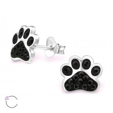925 zilveren oorstekers voor de hondenliefhebbers met Swarovski kristallen.