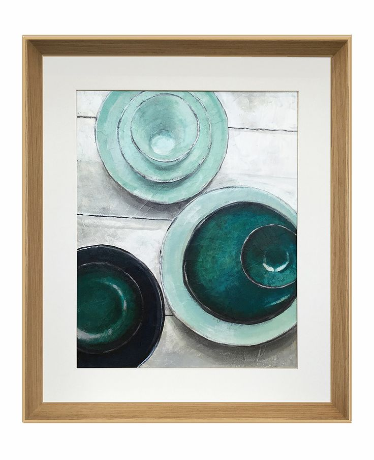 "Green plates - Acrylic and Oil on board 390x490mm (15x19"") This painting should be hung portrait. Japanese glazed ceramics on white timber floor."