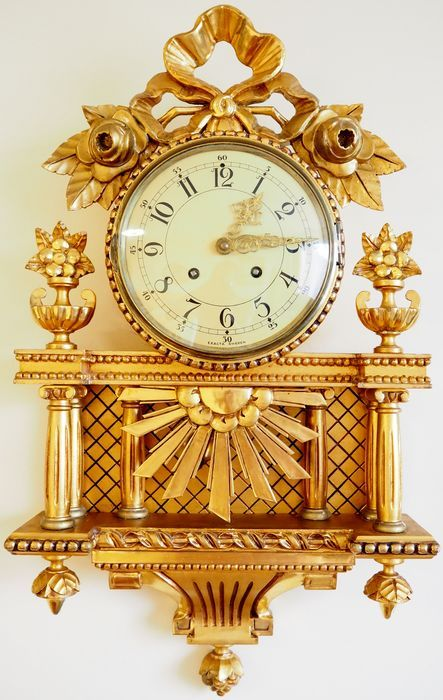 "Currently at the #Catawiki auctions: LARGE Swedish gold-plated hand carved wall clock ""EXACTA"" Gustavian style - E..."