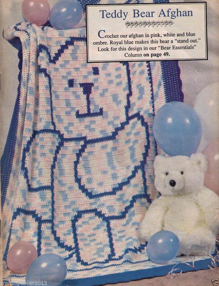 VINTAGE BABIES CUTE TEDDY BEAR THEMED BORDER AFGHAN BLANKET-4PLY CROCHET PATTERN