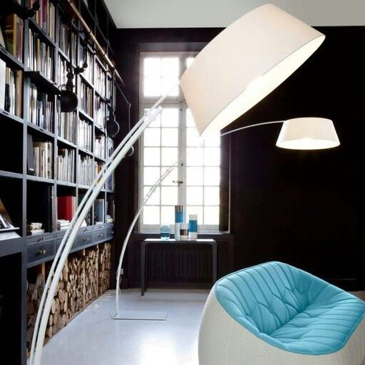 Ouverture By Philippe Daney Adjustable Floor Lamp With Base Ad Stem In  Satin White Or Black