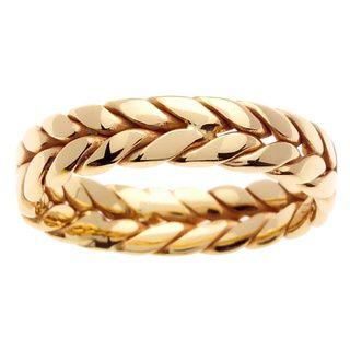14k White Gold Men's Braided Wedding Band   Overstock.com Shopping - The Best Deals on Men's Rings
