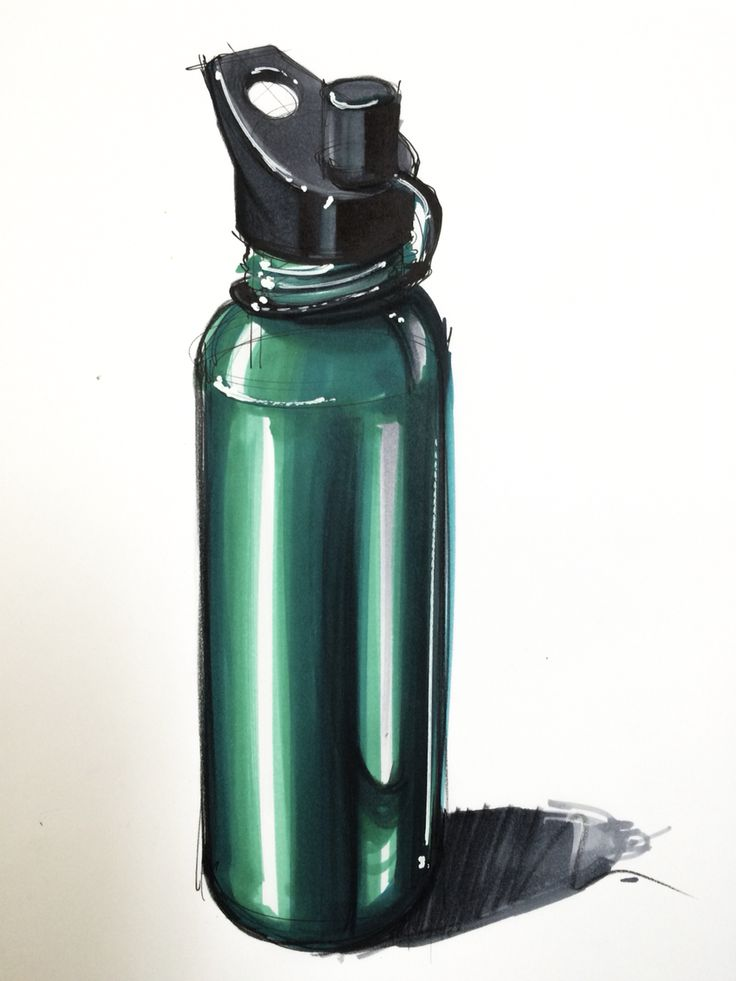 Metallic bottle industrial design rendering