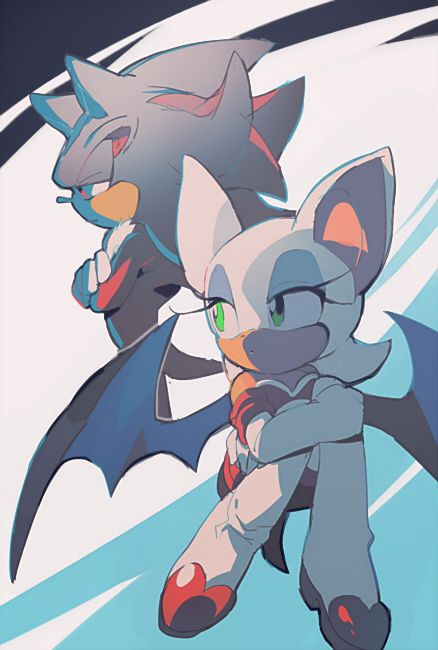 Shadow & Rouge sometimes I ship it, but I also ship Knucks and Rouge! So I'm kinda stuck between.