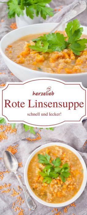 Rote Linsensuppe - ein Rezept aus der Kategorie Suppen Rezepte von herzelieb. Schnell, einfach, leicht und lecker. #suppe #linsen #vegetarsisch #foodblog #herzelieb #deutsch