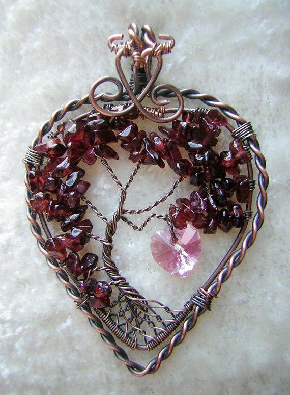 10 Off Garnet Heart Shaped Tree of Life Wire by RachaelsWireGarden, $70.50