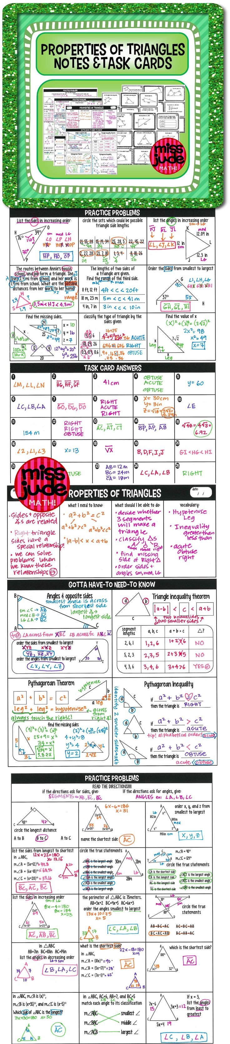notes, practice, and 25 task cards for your high school geometry class Introduces relationship between sides and angles, triangle inequality, pythagorean theorem and pythagorean inequality.  Happy solving! from the miss jude math TPT shop