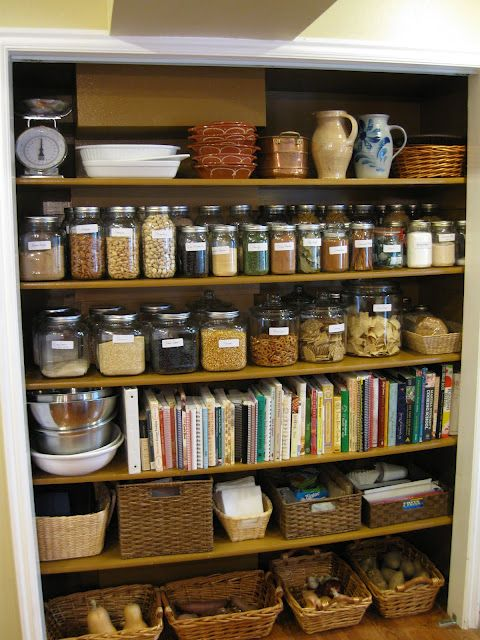 Jars for spices and dried goods.  Baskets for bread and cold weather veggies.  Functional and lovely.