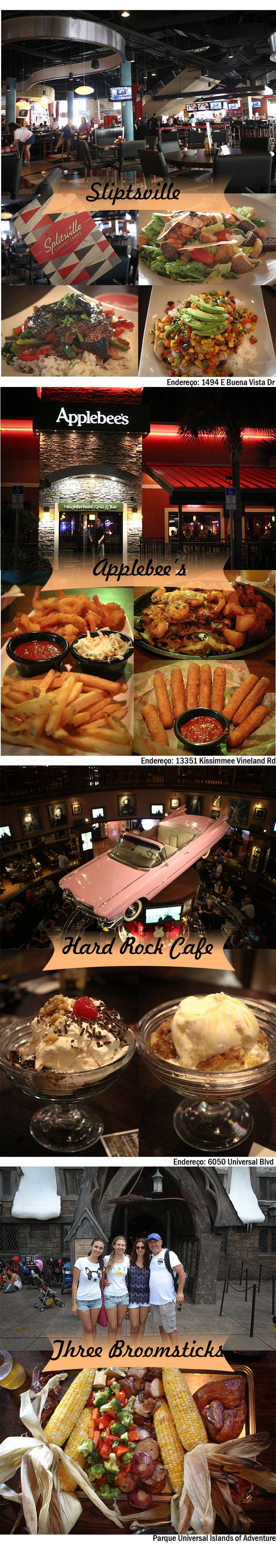 Tip | Restaurants | Food | Orlando | Miami | Shrimp | Florida | United States | Bubba Gump | Hard Rock | Three Broomsticks | The Cheesecake Factory | Splitsville | Applebee's | Bellini | Ocean Drive | Beach