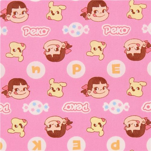pink cute Peko Chan dog face sweet oxford fabric from Japan 2