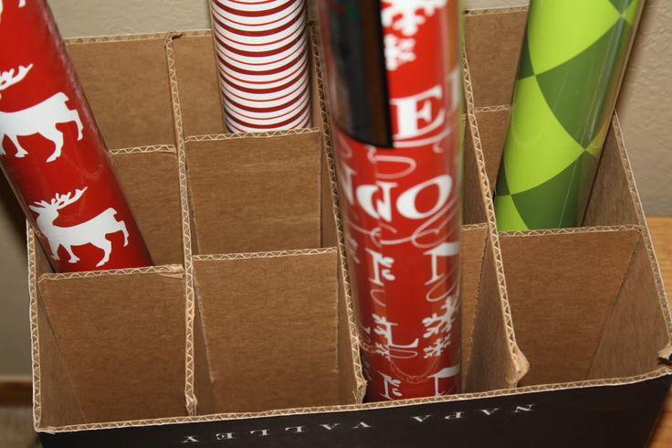 wine box for wrapping paper storage