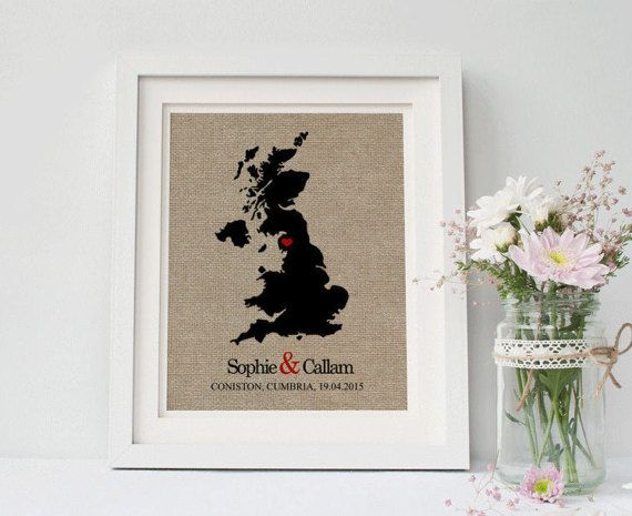 UK Map Wedding Gift • Personalized Wedding Gift • Anniversary Gift • Newlyweds Gift • Gift for Couples • Gift for Him • Gift for Her