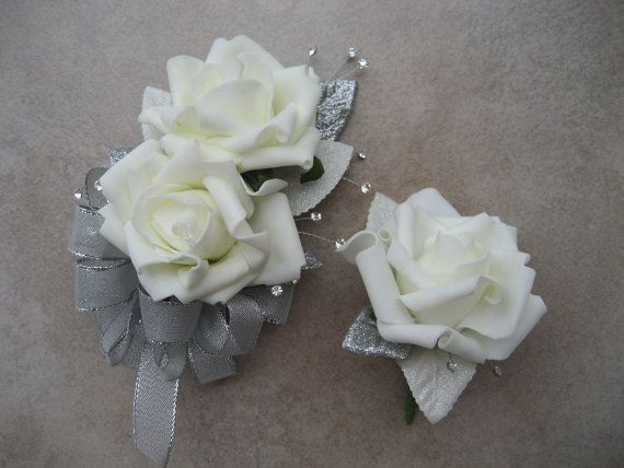 25th Anniversary Corsage And Boutonniere Set. by DESIGNSBYDME, $26.95