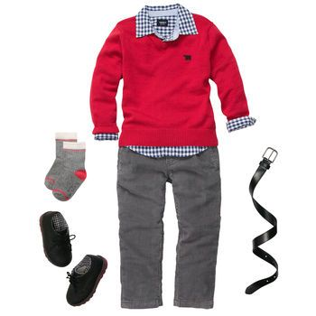 Red-dy For The Holidays. Carter's. Maybe with a solid denim shirt. He looks horrible in checks