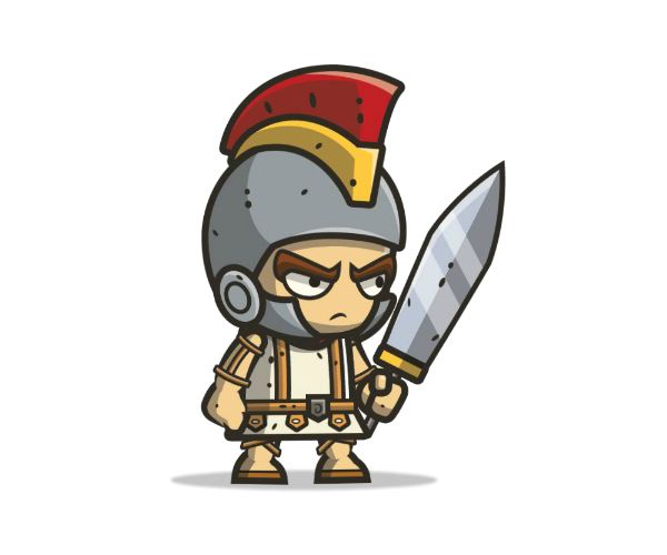 This royalty free game art character would fit right at home in your next gladiator or Roman adventure themed app.