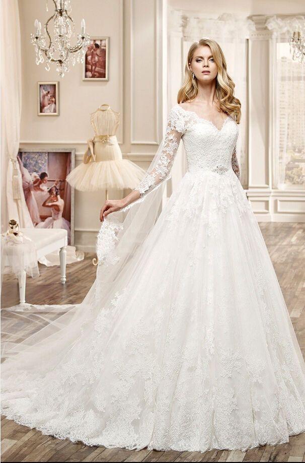 Sexy V-neck White/Ivory Wedding Dress Bridal Ball Gown Custom Size 29-11