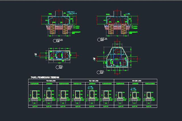 Gambar Kerja Detail Pilecap Dan Tie Beam File Dwg Di 2020 Autocad Perencanaan