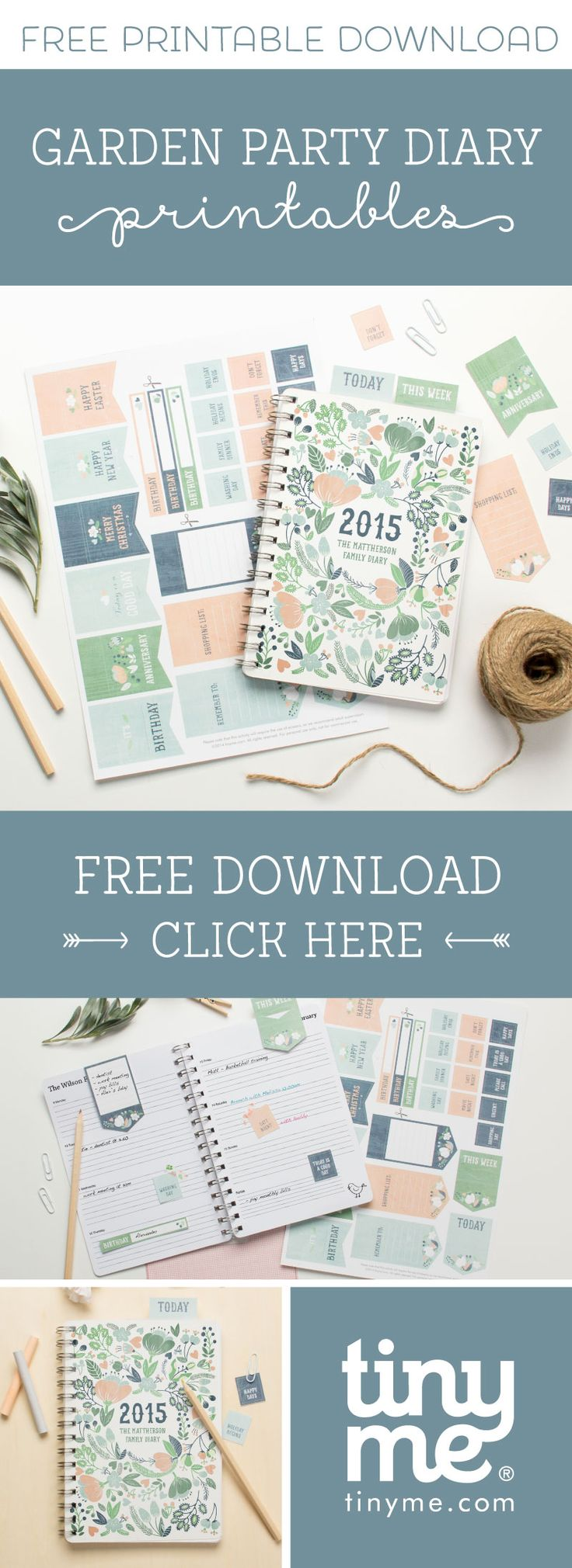 Getting organised has never looked so cute with Free Garden Party Diary Printables | Tinyme Blog