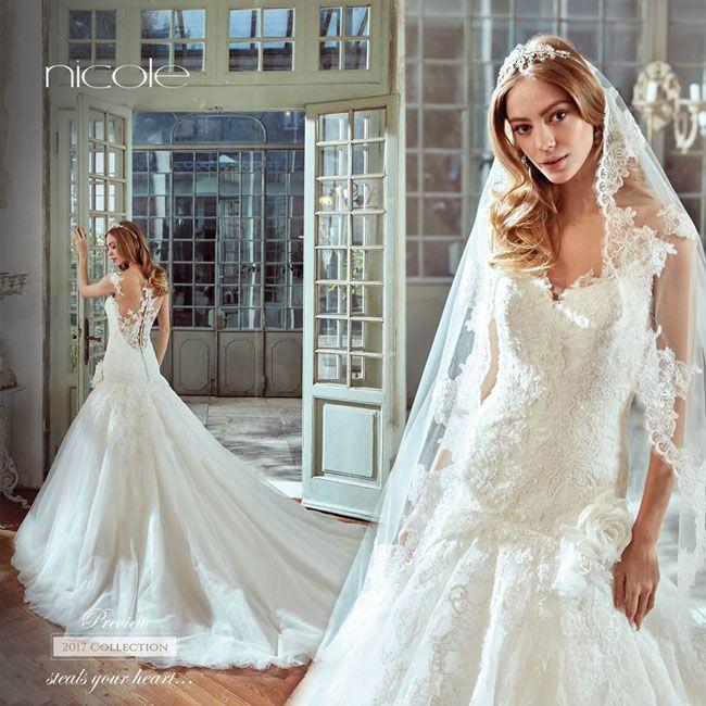 ba0cf9d6de10 Abito Da Sposa Roantico 2017 Nicole Spose Con Effetto Tattoo Sulla Schiena