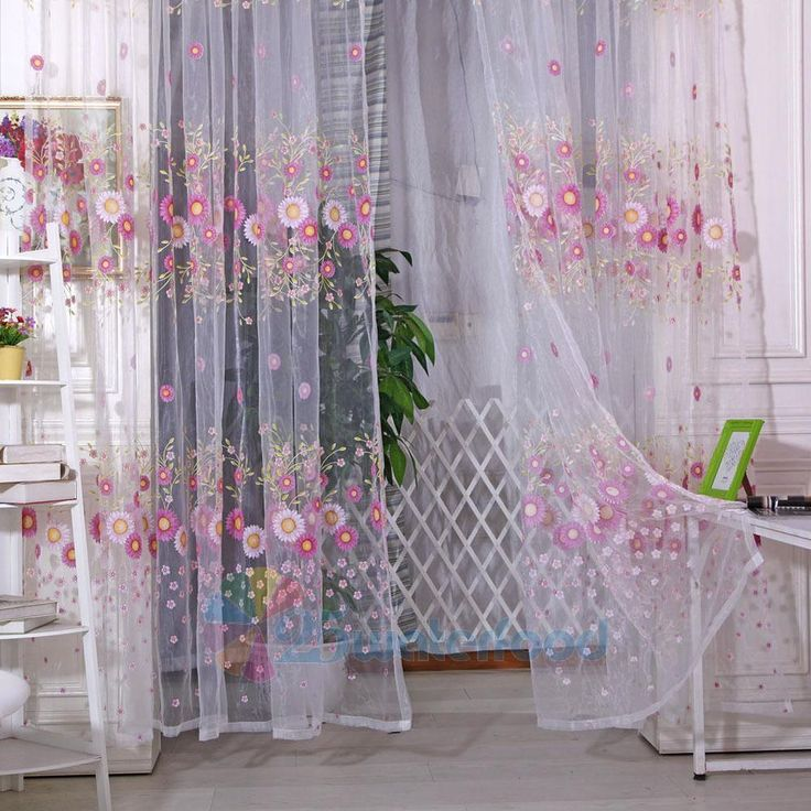 Sunflower Floral Tulle Voile Door Window Curtain ...