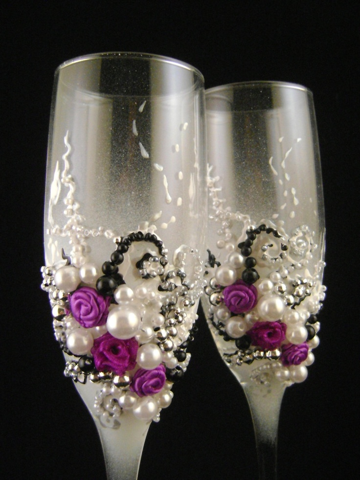 Gorgeous wedding champagne glasses, hand decorated with fabric roses and pearls, in purple, white, black and silver. $54.00, via Etsy. Love, love, love these! #DBBridalStyle