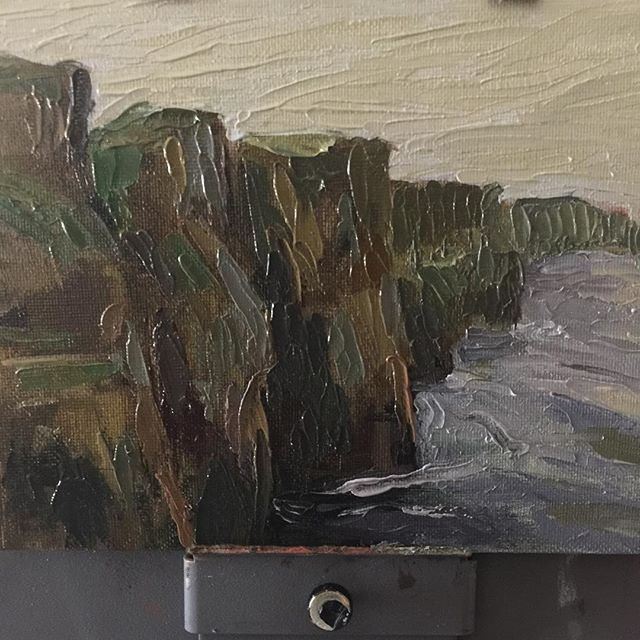 #art #drawing #sketch #sketching #instaart #rosemarybrushes #instasketch #oil #thick #texture #brushstrokes #oilpainting #impasto #oilsketch #quick #allaprima #paletteknife #irelandcliffs #water #cliffsofmoher #landscape #doodle