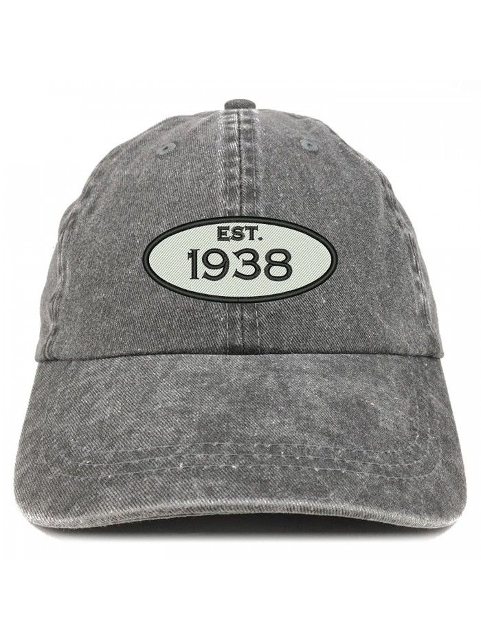 Established 1938 Embroidered 80th Birthday Gift Pigment Dyed Washed Cotton Cap