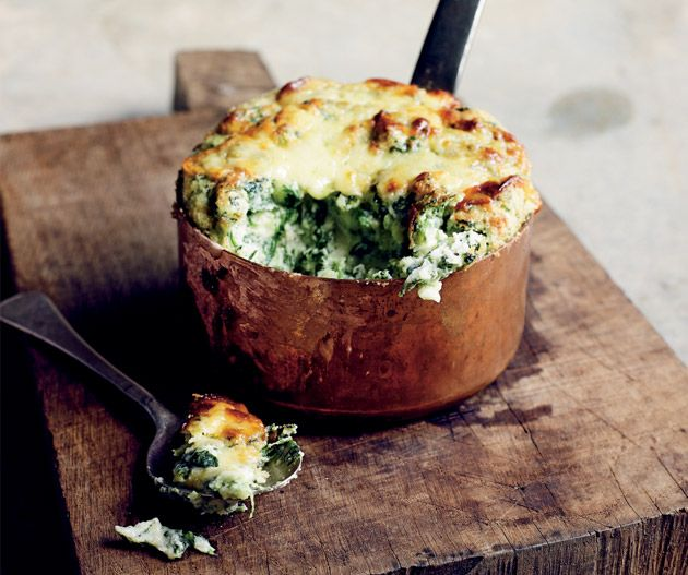 Cheddar and spinach soufflés from Gary Mehigan's Favourites. Photograph © John Laurie.