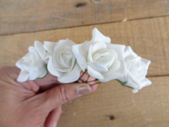 White Rose Wedding Hair Pins Ivory Bridal Hair Pins Hair