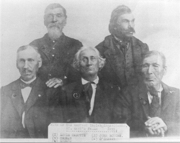 "LOUIS GARNEAU (1790-1863)Photo is Metis of Sault Ste Marie  ""Five of the earliest Indian inhabitants of St. Mary's Falls 1855"".  St. Mary's Falls is Sault Ste. Marie and the people are Metis not Indian. They however were adopted into the Ojibwa Nation and therefore could rightfully be called Indian but not the earliest inhabitants. Garneau married Cadotte's sister as did John Boucher.   Left to right (1) Louis Cadotte, (2) John Bouche, (3) Obogan, (4)  O'Shawan, (5) Louis Gurnoe aka Garneau."
