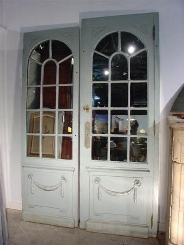 Pair Of Antique Painted And Mirrored Orangerie Doors