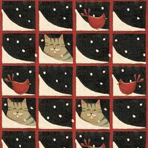 CAT SKATERS VILLAGE FABRIC - Easy Quilted Cat Wall Hanging for Winter Decoration?