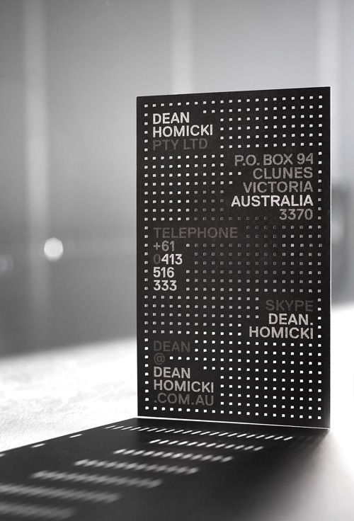 Printed and laser cut business card for commercial artisan Dean Homicki